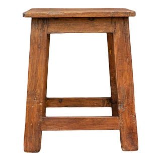 Colonial Teak Farmhouse Stool For Sale
