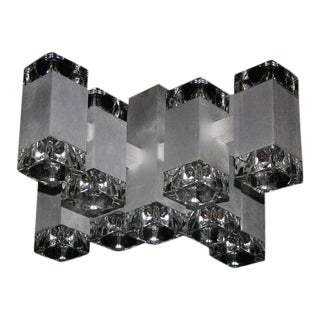 Mid-Century Modern Gaetano Sciolari Seventeen-Light Ice Cube Chandelier For Sale