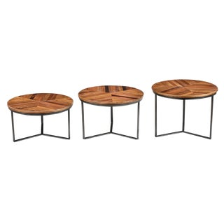 Iron & Wood Round Nesting Tables- Set of 3