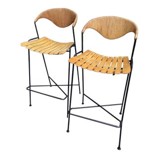 Vintage Mid Century Arthur Umanoff Counter Bar Stools - a Pair For Sale