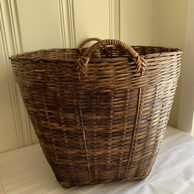 Boho Chic Earthy Wood Rustic Decor & Storage Basket For Sale - Image 3 of 9