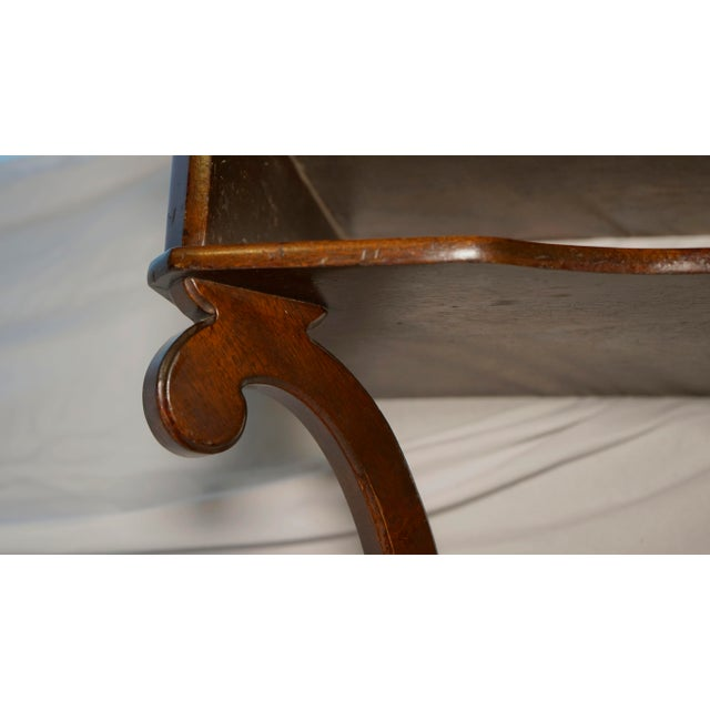 French Mahogany Vintage Hanging Wall Mount Scalloped Bracket Console For Sale - Image 3 of 10