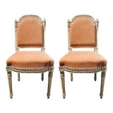 Image of A Swedish Louis XVI Style Dining / Side Chairs Painted Carved Frames New Fabric - Set of 12 For Sale