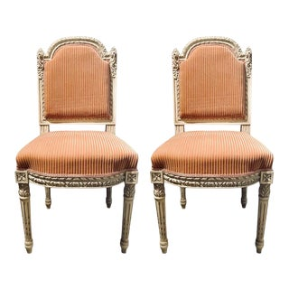 A Swedish Louis XVI Style Dining / Side Chairs Painted Carved Frames New Fabric - Set of 12 For Sale