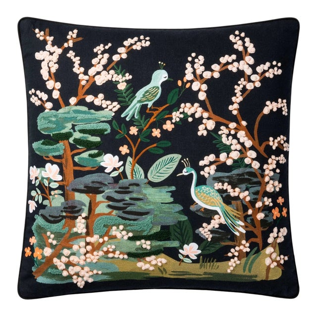 """Kenneth Ludwig Chicago Black Kyoto Garden 22"""" Pillow For Sale"""