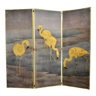 Yellow Long- Neck Birds Suede 3 Panel Folding Screen For Sale