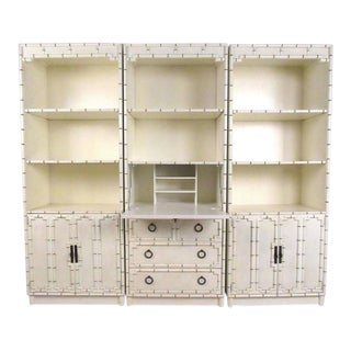Contemporary Modern Decorator Style Faux Bamboo Wall Unit