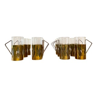 Mid-Century Modern Brass Irish Coffee Glasses - Set of 12 For Sale