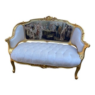 1940s French Louis XVI Style Gobelin White Velvet Corbeille Sofa/Settee/Loveseat For Sale