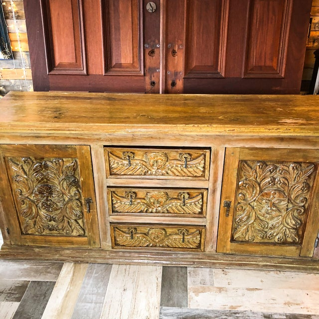 Antique Mexican Hand Carved Wood Sideboard With Cherubs and Green Man Motif For Sale In West Palm - Image 6 of 11