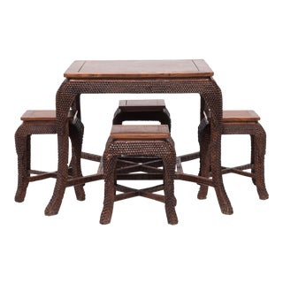 Early 20th Century Dragon Scale Tea Table and Stools For Sale