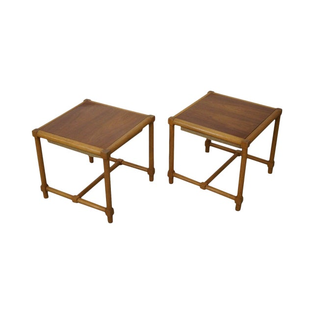 Tommi Parzinger Pair of Stools Reverse Top Low Tables For Sale