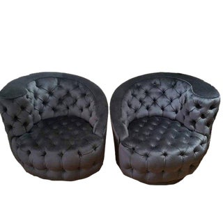 Tufted Swivel Chairs in the Style of Vladimir Kagan - a Pair