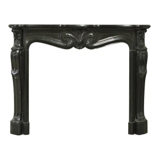 Black Marble Louis XV Fireplace Mantel, 19th Century For Sale