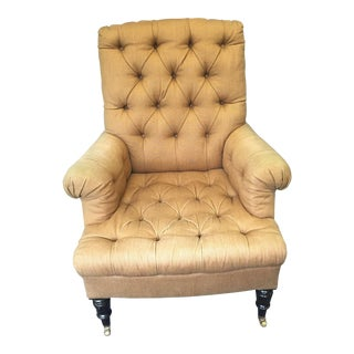Linen Upholstered Button Tufted Armchair