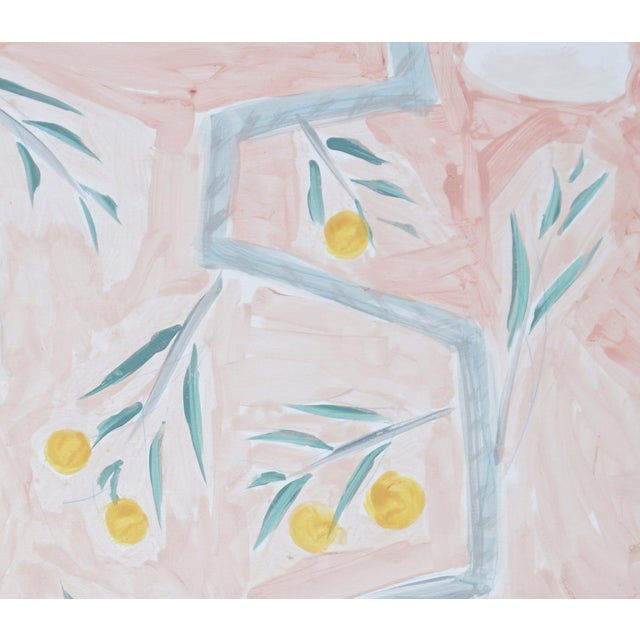 """2020s """"Orange Trees on Rose Background"""" Contemporary Mixed-Media Botanical Paintings by Tom Wise, Framed - a Pair For Sale - Image 5 of 6"""
