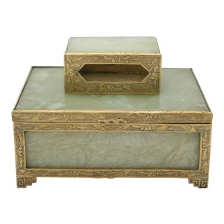 Brass & Jade Boxes - A Pair For Sale