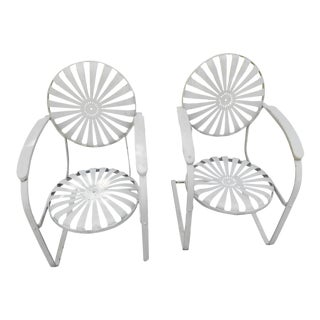 Vintage Francois Carre Cantilever Sunburst Garden Chairs- a Pair For Sale