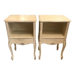"1950s French Provincial Cream ""Peyton"" Side Tables - a Pair"