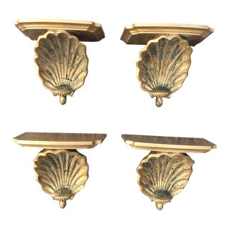 Italian Giltwood Shell Wall Shelves by Palladio - Set of 4