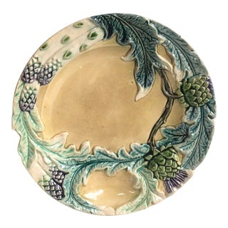 Majolica Asparagus Plate Fives Lille, Circa 1890 For Sale
