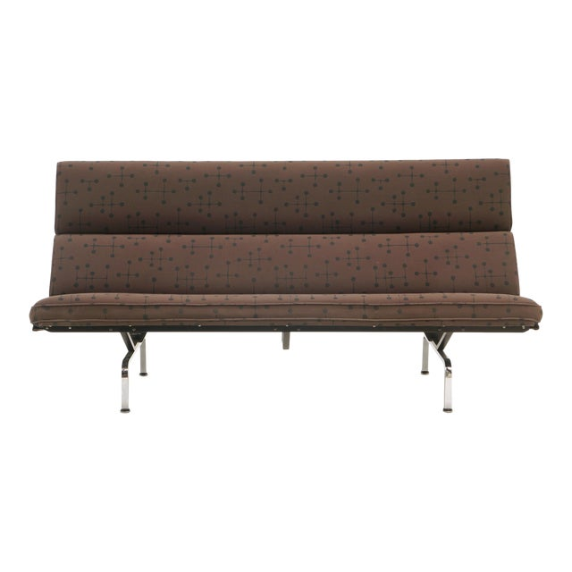 Charles and Ray Eames Sofa Compact for Herman Miller in Eames Dot Pattern Fabric For Sale