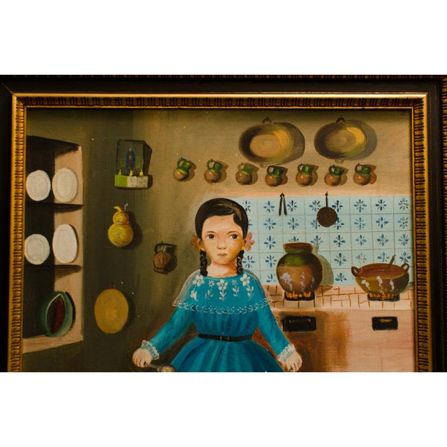 1950 'Girl in Kitchen' Painting by Lilia Carrillo For Sale - Image 4 of 8