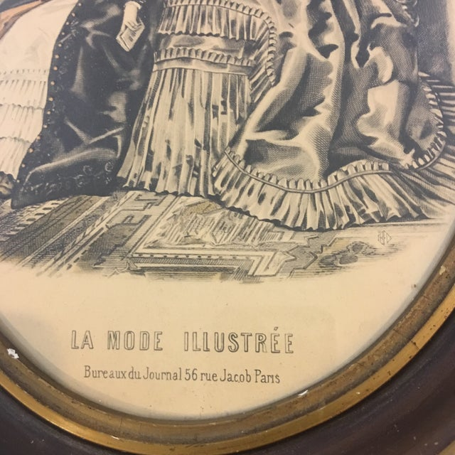19th Century Oval Frame of French Fashions For Sale - Image 4 of 10