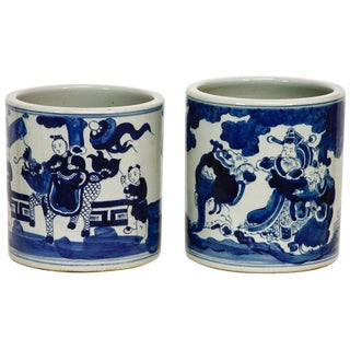 Chinese Blue and White Ceramic Brush Pots - a Pair