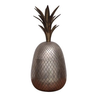 Extraordinary Huge Brass Pineapple Ice Bucket or Trinket or Candy Box For Sale