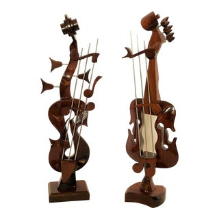 O. Sarguiz Hand Carved Mahogany Sculptural Musical Instruments - a Pair For Sale