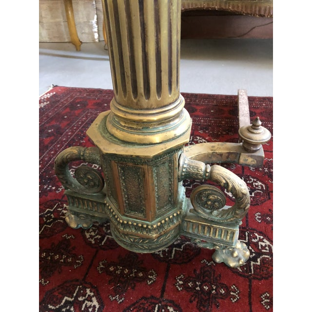 Metal C. 1900 Neo Classical Brass Pillar Fireplace Andirons - a Pair For Sale - Image 7 of 13