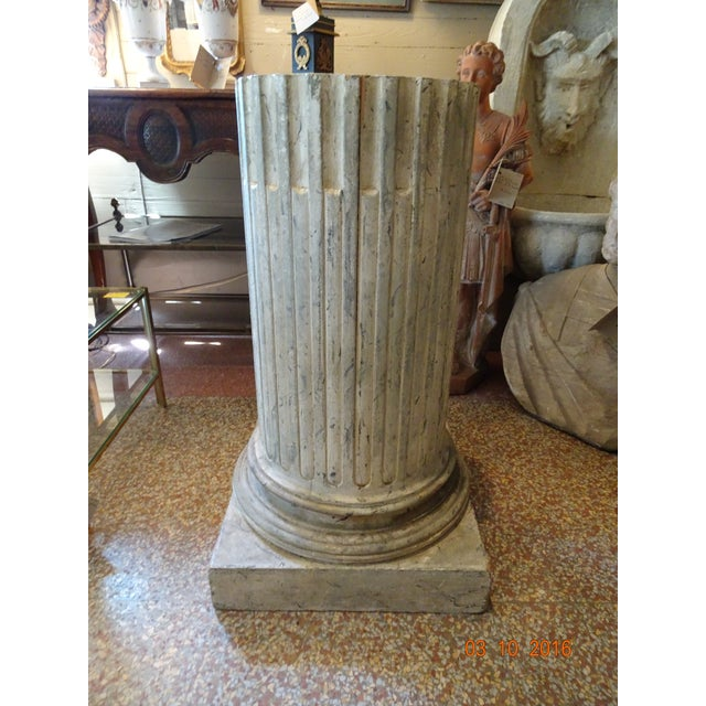 White Vintage French Fluted Wood Pedestal For Sale - Image 8 of 10