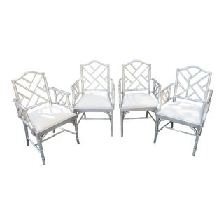 1970s Vintage Chinese Chippendale Hollywood Regency Silver Bamboo Arm Chairs- Set of 4 For Sale