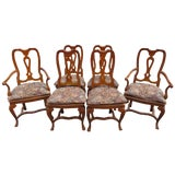 Image of Vintage Baker Furniture Co English Queen Anne Inspired Dining Chairs - Set of 6 For Sale