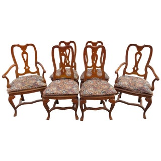 Vintage Baker Furniture Co English Queen Anne Inspired Dining Chairs - Set of 6 For Sale