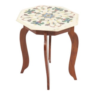 Vintage Hardstone Inlaid Marble Top Octagonal Side Table For Sale