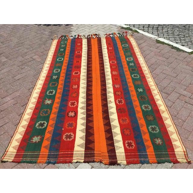 Colorful Vintage Kilim Rug For Sale - Image 10 of 10