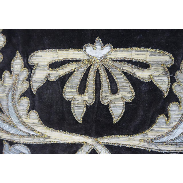 19th Century Italian Gold and Silver Metallic Appliqued Textile For Sale - Image 4 of 6