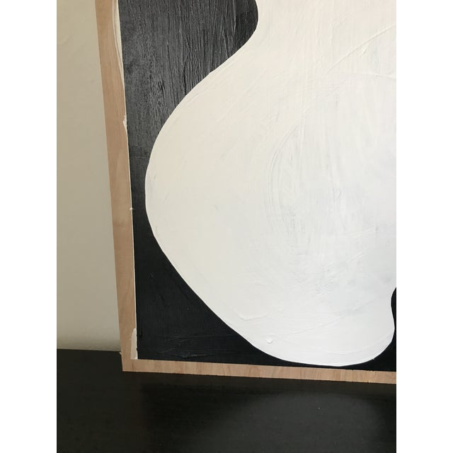 Wood Abstract Acrylic Diptych Painting of Black and White Flower by Hannah Polskin For Sale - Image 7 of 9