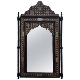 Moroccan K Framed With Orange Dye Camel Bone Mirror For Sale