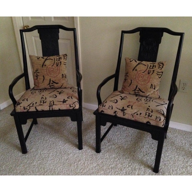 Pair of vintage Chin Hua dining armchairs. Century Furniture Co. made in USA. Reupholstered in high end designer fabric -...