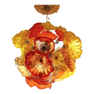 Contemporary Hand Blown Multicolor Glass Chandelier For Sale
