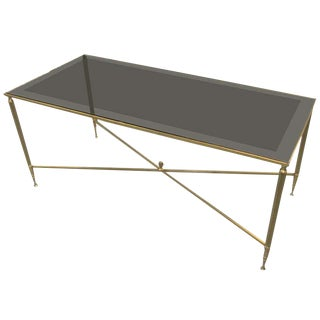 Rectangular Brass Coffee/Cocktail Table With Smoked Glass on Stretcher Base For Sale