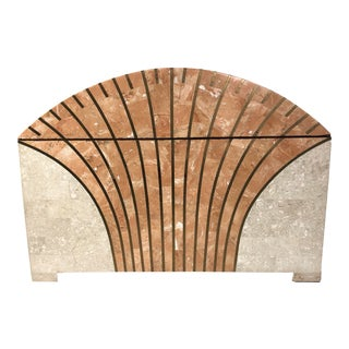 1980s Large Maitland-Smith Travertine and Brass Box in the Art Deco Style For Sale