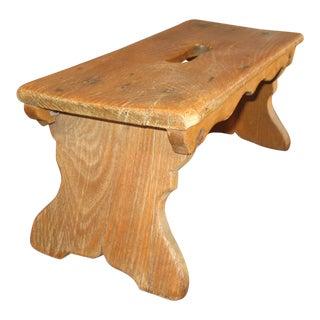 Vintage Rustic Pine Foot Stool For Sale