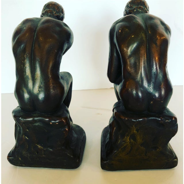 Bronze Bronze Clad Male Nude Bookends For Sale - Image 8 of 13