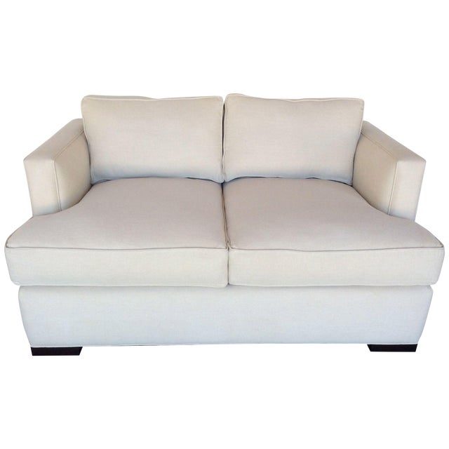 Contemporary White Love Seat - Image 1 of 7