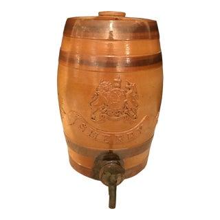 Antique English Stoneware Spirit Sherry Barrel For Sale