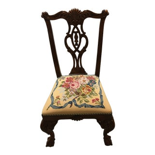 Chippendale Needlepoint Seat Side Chair For Sale